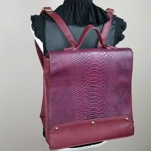 Burgundy Red Large Backpack Chic Reptile Scale